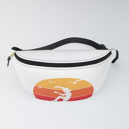 Karate Teen And Vintage Sunset On Pacific Ocean Beach  graphic Fanny Pack