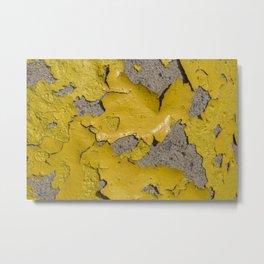 Yellow Peeling Paint on Concrete 3 Metal Print