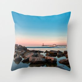 Pleasure boats on the coast at the Blue Hour Throw Pillow
