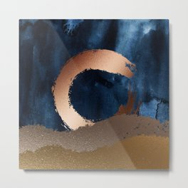 Navy Blue, Gold And Copper Abstract Art Metal Print