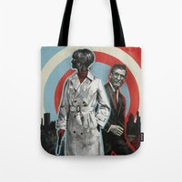 superheroes Tote Bags featuring Superheroes SF by Troy DeRose
