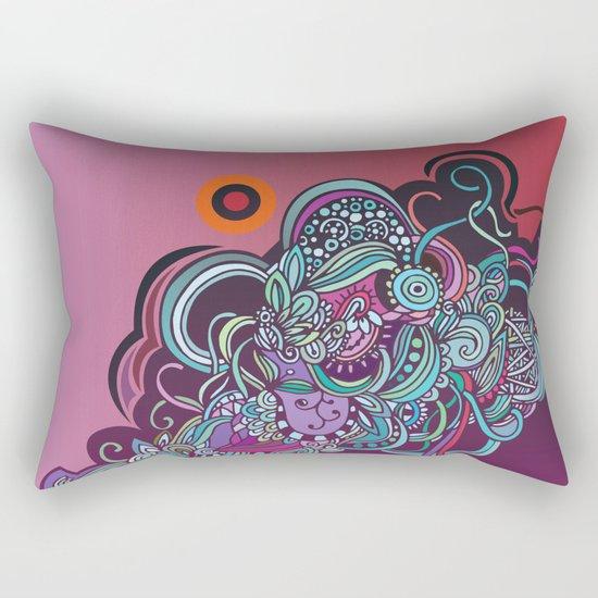 Detailed diagonal tangle, pink and purple Rectangular Pillow
