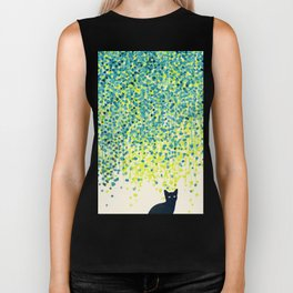 Cat in the garden under willow tree Biker Tank