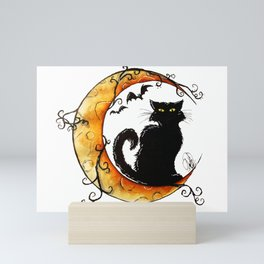 The cat and the moon Mini Art Print