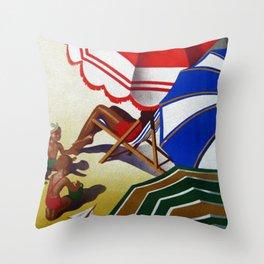 Vintage Spain Beach Travel Poster Throw Pillow