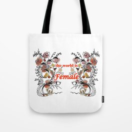 letterings with flowers red Tote Bag