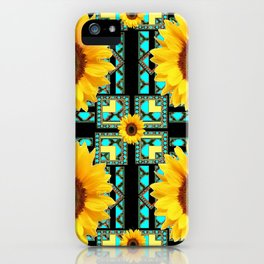 WESTERN STYLE  BLACK COLOR YELLOW SUNFLOWERS ART iPhone Case