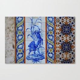 Goat Vintage Mosaic Tiles Canvas Print