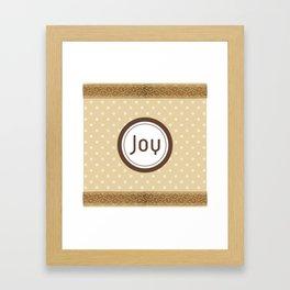 Tan Polka Dot and Lace JOY Framed Art Print