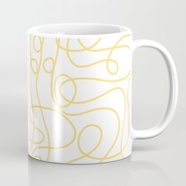 Doodle Line Art   Yellow Lines on White Background Coffee Mug