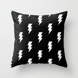 BOLT ((white on black)) Throw Pillow