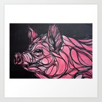 Curly Pig Art Print