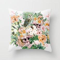 Interpretation of a dream - Owl with Skulls Throw Pillow