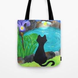 Black Cat & Fireflies Tote Bag