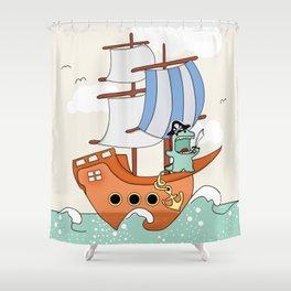 Dinosaur On A Ship Shower Curtain