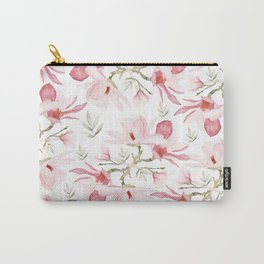Hand painted blush pink green watercolor magnolia pattern Carry-All Pouch