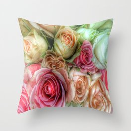 Roses - Pink and Cream Throw Pillow