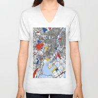 mondrian V-neck T-shirts featuring Tokyo Mondrian by Mondrian Maps
