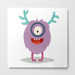 Emoji smart monster. Cute clever cyclop vector illustration Metal Print