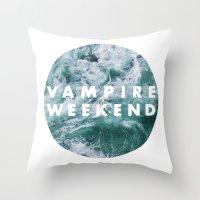 vampire weekend Throw Pillows featuring Vampire Weekend by Van de nacht