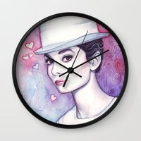hepburn Wall Clocks featuring Audrey Hepburn by Olechka