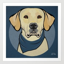 Icons of the Dog Park: Yellow Labrador Design in Bold Colors for Pet Lovers Art Print