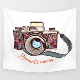 Beautiful pretty gurlish camera with flowers Wall Tapestry
