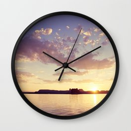 Sunset at the Lake Wall Clock