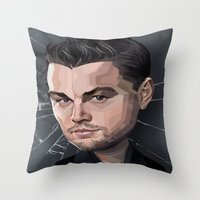 leonardo dicaprio Throw Pillows featuring DiCaprio Caricature by Stevie Ray Thompson