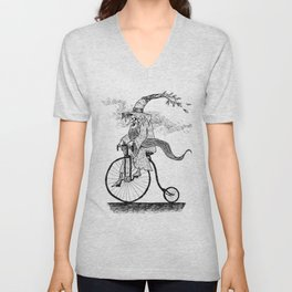 Forest Wizard on a Bike Unisex V-Neck