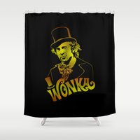 willy wonka Shower Curtains featuring W gold by Buby87