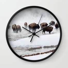 Yellowstone National Park - Bison Herd Wall Clock
