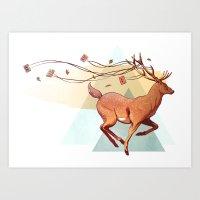 antlers Art Prints featuring Antlers by Joel Benjamin