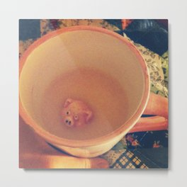 Waiter, There's a Pig in My Drink Metal Print
