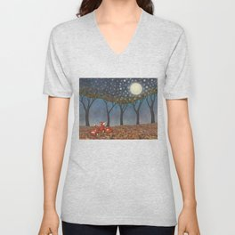 sleepy foxes Unisex V-Neck