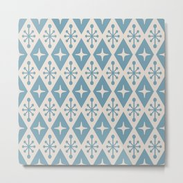 Mid Century Modern Atomic Triangle Pattern 710 Blue and Beige Metal Print