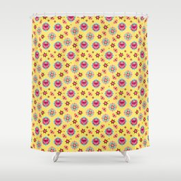 Butterfly And Flower Medallions - Bumblebee Yellow Color Shower Curtain