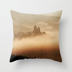 Castle in a foggy valley Throw Pillow