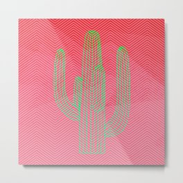 Deserted cactus - chevron pink Metal Print
