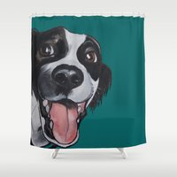 border collie Shower Curtains featuring Maeby the border collie mix by Pawblo Picasso