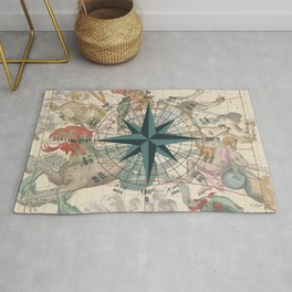 Compass Graphic with an ancient Constellation Map Rug