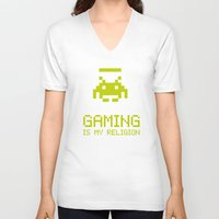 religion V-neck T-shirts featuring Gaming is my religion by Lily's Factory