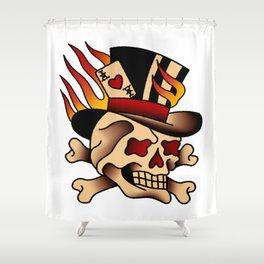 Fiery Top Hat Skull Shower Curtain