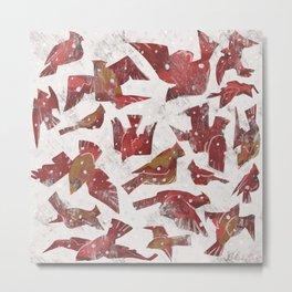 Snowy Cardinals Metal Print
