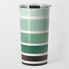 Deep Green Minimalist Watercolor Mid Century Staggered Stripes Rothko Color Block Geometric Art Travel Mug