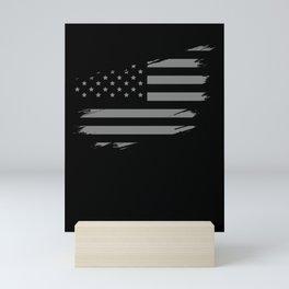 Correctional Officer American Flag Thin Silver Line Mini Art Print