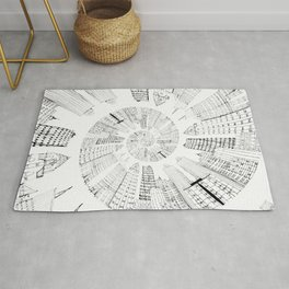 black and white city spiral digital painting Rug
