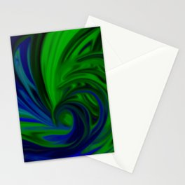 Blue and Green Wave Stationery Cards
