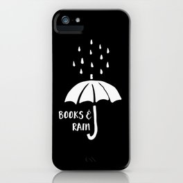 Books and Rain - Black and White (Inverted) iPhone Case