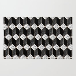 Geometric marble 3D rectangle Rug